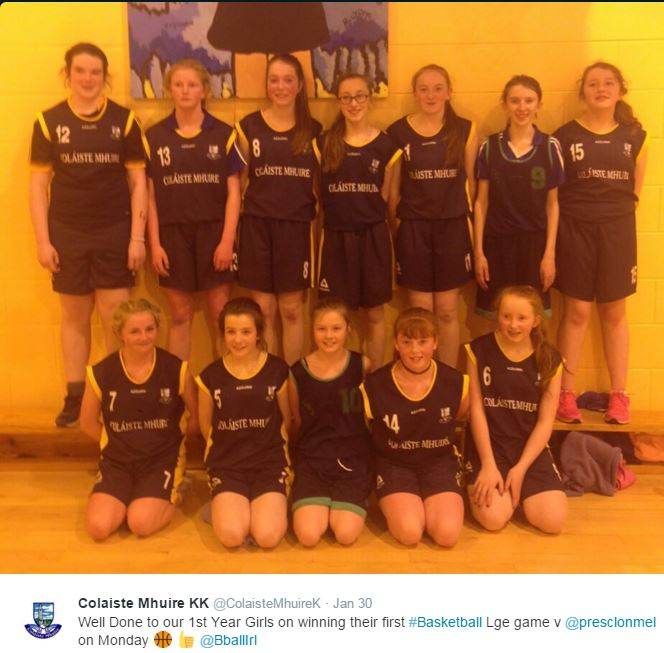 1st Year Girls Basketball Team who defeated Presentation Clonmel in their first League Game of 2016
