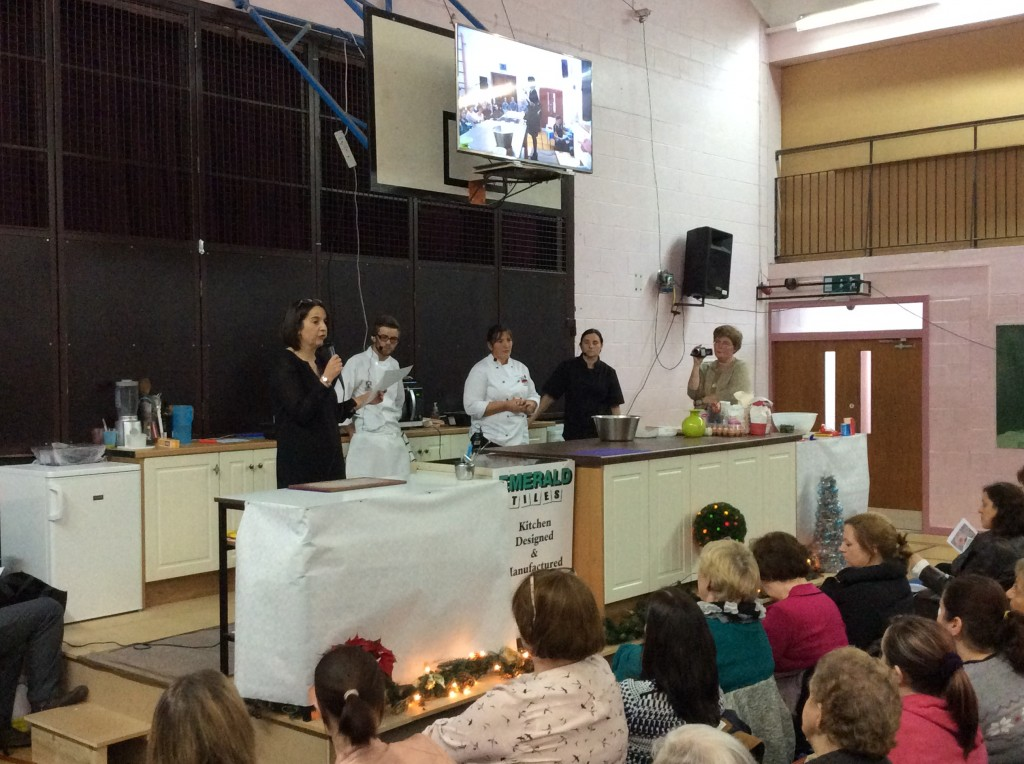 Angela Conroy (Deputy Principal) introduces the team of Alan Nealis, Rosemarie Dunne & Kelly Long for the Cookery Demonstration @ Coláiste Mhuire Johnstown on Thursday, 27th November 2014