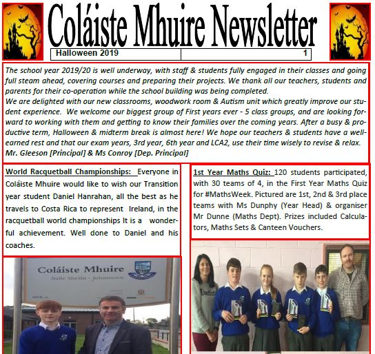 Coláiste Mhuire Johnstown NEWSLETTER Autumn 2019