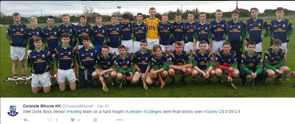 Boys Senior Hurlers who defeated Gorey CS in the Leinster Colleges semi final & now await Enniscorthy CBS in the Final
