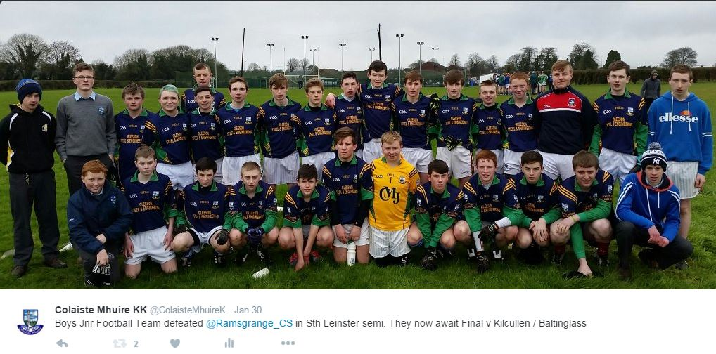 Boys U16 Football defeat Ramsgrange CS (Wexford) to qualify for South Leinster Final