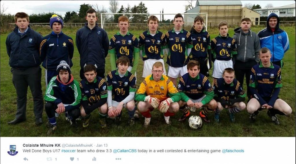 Boys U17 Soccer qualify for KK-Carlow Schools semi-final after draw with Callan CBS