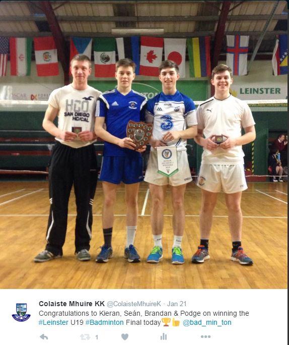 Boys U19 Badminton Leinster Champions 2016