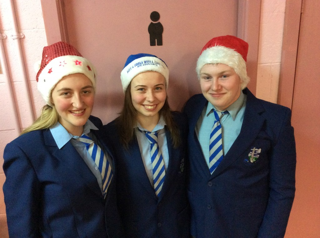Christmas Helpers & TY students Kelly O'Brien, Rebecca Walsh & Dylan Ryan during the Festive Food & Craft Fair @ Coláiste Mhuire Johnstown on Thursday, 27th November 2014