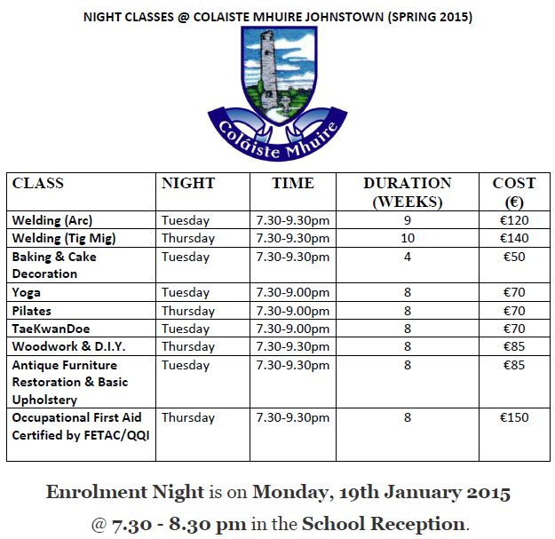 Coláiste Mhuire Johnstown Night Classes Spring 2015 Time Table