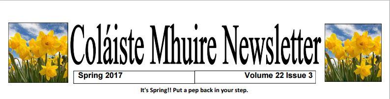 Colaiste Mhuire Johnstown Newsletter (Spring 2017)