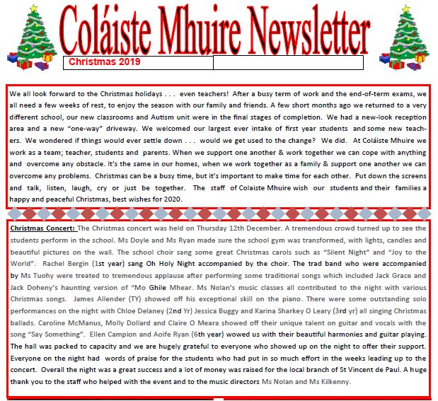Coláiste Mhuire Johnstown NEWSLETTER Christmas 2019