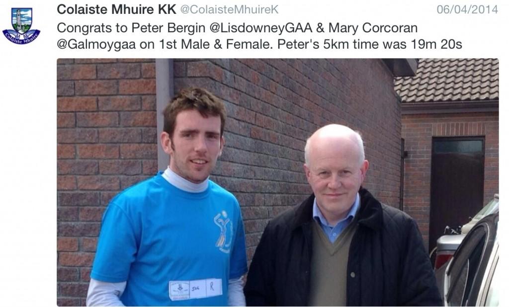 Fun Run winner 2014 past pupil Peter Bergin (Lisdowney)