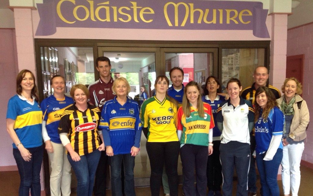 Staff enjoying GOAL Jersey Day @ Coláiste Mhuire Johnstown 2015