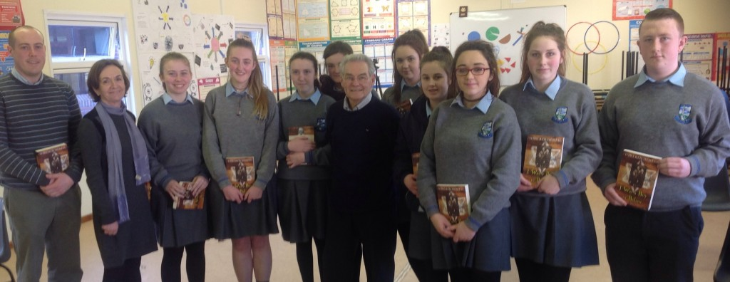 Holocaust Survivor & author Tomi Reichental with Mr Colin Madden (History & English teacher), Patricia Costello (TY co-ordinator) & Transition Year students in Coláiste Mhuire Johnstown (Tuesday, 6th January 2014)