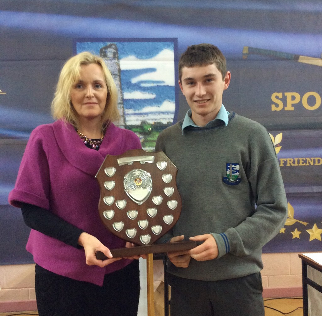 Congratulations to Ciarán Costigan (Cullahill) on winning the prestigious Joe Delaney Memorial Award for Overall Contribution to School Life. Presented on behalf of the Delaney family by Triona Delaney.
