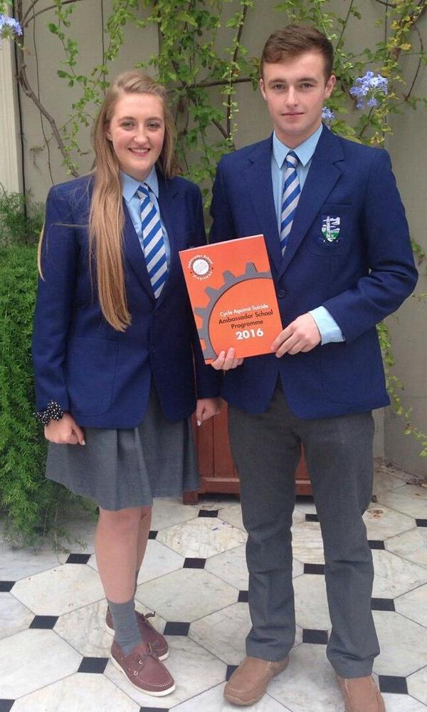 Kelly O'Brien & Gavin McCarthy receive Ambassador School Award from Cycle Against Suicide in Farmleigh (Sept 2015)