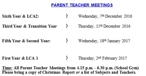 Parent Teacher Meetings 2016-17