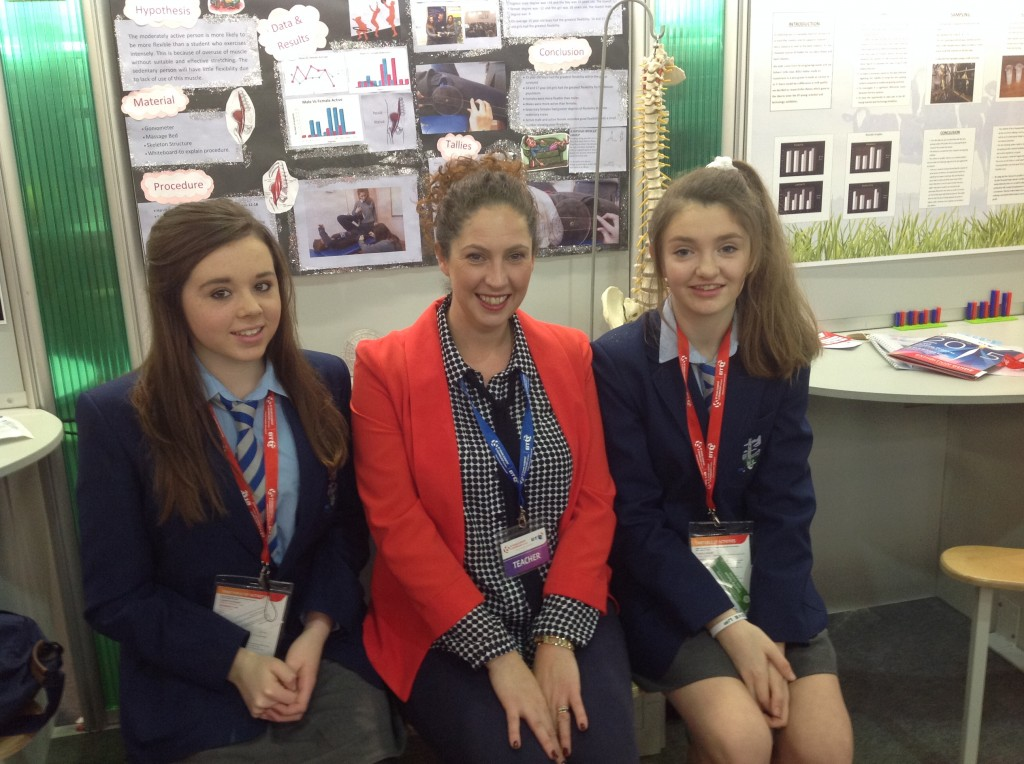 Representing Coláiste Mhuire Johnstown in the Junior Cycle entries @ BT Young Scientist 2015 are students Amy Dunphy & Laura O'Sullivan with Ms Valerie Bergin (Science teacher)