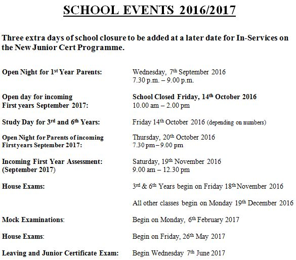 School Events 2016-17