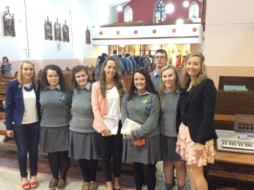 Some Leaving Cert students with staff from Colaiste Mhuire inside church in Johnstown