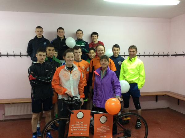 Staff & Students from Coláiste Mhuire Johnstown about to embark on the Cycle Against Suicide (May 2015)